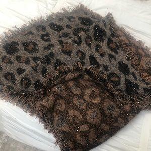 Leopard Print Raw Edge Super Soft Scarf